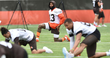 Odell Beckham Jr. stretches during minicamp at the Cleveland Browns training facility on June 4, 2019.