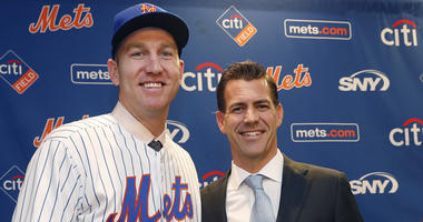 FILE -- Brodie Van Wagenen poses with Mets third baseman Todd Frazier.