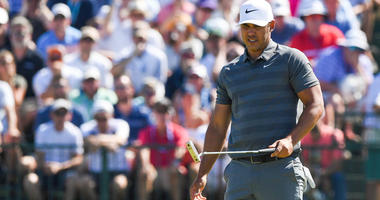 Brooks Koepka reacts to a putt on the seventh hole during the final round of the U.S. Open on June 17, 2018, at Shinnecock Hills Golf Club in Southampton, New York.