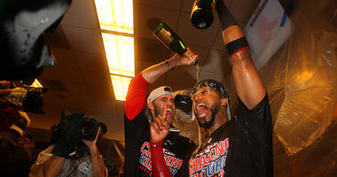 J.D. Martinez (28) and Boston Red Sox third baseman Eduardo Nunez (36) celebrate after beating the New York Yankees in game four of the 2018 ALDS playoff baseball series at Yankee Stadium. Mandatory Credit: Brad Penner-USA TODAY Sports