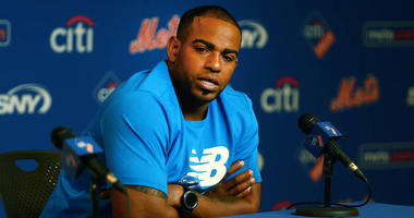 Mets outfielder Yoenis Cespedes addresses the media in a press conference on July 25, 2018, announcing he will undergo season-ending surgery on his heels.