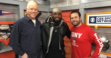 Landon Collins poses with Boomer Esiason and Gregg Giannotti