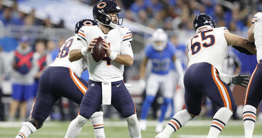 Nov 22, 2018; Detroit, MI, USA; Chicago Bears quarterback Chase Daniel (4) looks to pass the ball during the first quarter against the Detroit Lions at Ford Field. Mandatory Credit: Raj Mehta-USA TODAY Sports