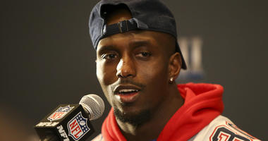 Jan 31, 2019; Atlanta, GA, USA; New England Patriots free safety Devin McCourty (32) addresses the media at a press conference for Super Bowl LIII at Hyatt Regency Atlanta. Mandatory Credit: Brett Davis-USA TODAY Sports