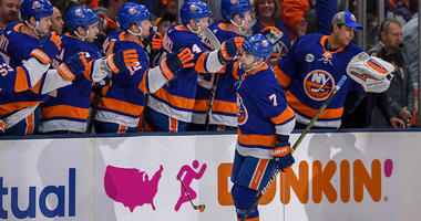 Apr 10, 2019; Brooklyn, NY, USA; New York Islanders right wing Jordan Eberle (7) celebrates his goal with the team bench against the Pittsburgh Penguins. Mandatory Credit: Dennis Schneidler-USA TODAY Sports
