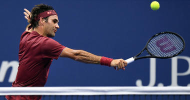 Roger Federer hits to John Millman in a round-of-16 match on Sept. 3, 2018, at the U.S. Open.