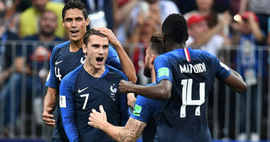 France's Antoine Griezmann (7) celebrates with teammates after scoring a goal on a penalty kick against Croatia in the final of the FIFA World Cup 2018 on July 15, 2018, at Luzhniki Stadium in Moscow.