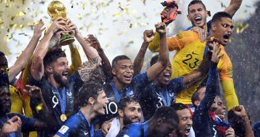 French players celebrate with the trophy after defeating Croatia in the final of the FIFA World Cup 2018 on July 15, 2018, at Luzhniki Stadium in Moscow.