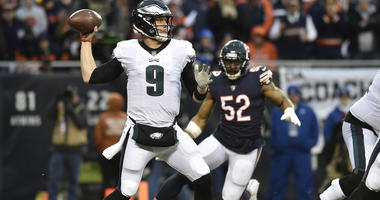 Jan 6, 2019; Chicago, IL, USA; Philadelphia Eagles quarterback Nick Foles (9) throws a pass against the Chicago Bears in the first half a NFC Wild Card playoff football game at Soldier Field. Mandatory Credit: Quinn Harris-USA TODAY Sports