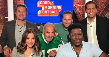 """Joe Benigno and Evan Roberts pose with the hosts of """"Good Morning Football"""" on Sept. 13, 2019"""