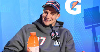 Patriots tight end Rob Gronkowski during Opening Night for Super Bowl LIII at State Farm Arena in Atlanta