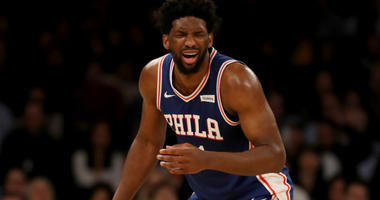 Joel Embiid #21 of the Philadelphia 76ers reacts in the fourth quarter against the New York Knicks at Madison Square Garden on February 13, 2019 in New York City.