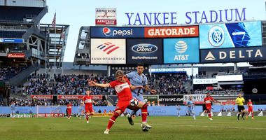 Bastian Schweinsteiger #31 of Chicago Fire and Valentin Castellanos #11 of New York City FC fight for the ball in the first half at Yankee Stadium on April 24, 2019 in the Bronx borough of New York City.