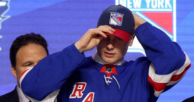 Kaapo Kakko smiles after being selected second overall by the New York Rangers during the first round of the 2019 NHL Draft at Rogers Arena on June 21, 2019 in Vancouver, Canada