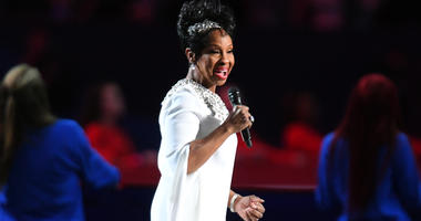 Feb 3, 2019; Atlanta, USA; Recording artist Gladys Knight performs the National Anthem before Super Bowl LIII between the New England Patriots and the Los Angeles Rams at Mercedes-Benz Stadium. Mandatory Credit: Christopher Hanewinckel-USA TODAY Sports