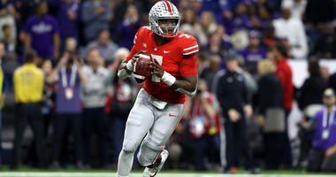 Dec 1, 2018; Indianapolis, IN, USA; Ohio State Buckeyes quarterback Dwayne Haskins (7) looks to pass against the Northwestern Wildcats during the first half in the Big Ten conference championship game. Mandatory Credit: Aaron Doster-USA TODAY Sports