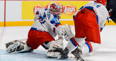 Igor Shesterkin of Team Russia stretches out the pad and blocker to make a save against the United States in a quarterfinal round game in the 2015 IIHF World Junior Hockey Championships on Jan. 2, 2015, at the Bell Centre in Montreal.