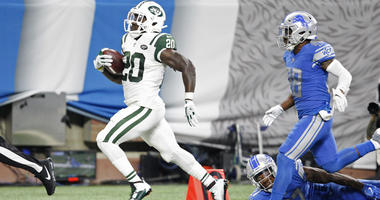 Jets running back Isaiah Crowell runs for a touchdown during the third quarter against the Lions on Sept. 10, 2018, at Ford Field in Detroit.
