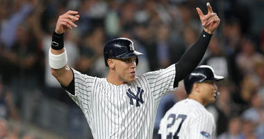 Yankees right fielder Aaron Judge celebrates during the sixth inning against the Oakland Athletics in the American League wild-card game on Oct. 3, 2018, at Yankee Stadium.