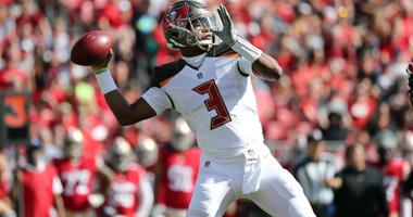 Nov 25, 2018; Tampa, FL, USA;Tampa Bay Buccaneers quarterback Jameis Winston (3) throws the ball against the San Francisco 49ers during the first quarter at Raymond James Stadium. Mandatory Credit: Kim Klement-USA TODAY Sports