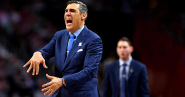 Apr 2, 2018; San Antonio, TX, USA; Villanova Wildcats head coach Jay Wright reacts during the second half against the Michigan Wolverines in the championship game of the 2018 men's Final Four at Alamodome. Mandatory Credit: Bob Donnan-USA TODAY Sports