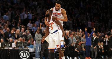 The Knicks' Tim Hardaway Jr. (3) and Courtney Lee