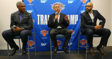 From left, Knicks president Steve Mills, general manager Scott Perry and coach David Fizdale speak during media day at the MSG training center in Greenburgh, New York, on Sept. 30, 2019.