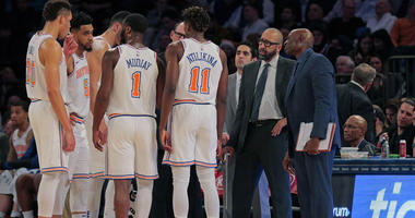 Knicks coach David Fizdale talks to his team during a timeout against the Phoenix Suns on Dec. 17, 2018, at Madison Square Garden.