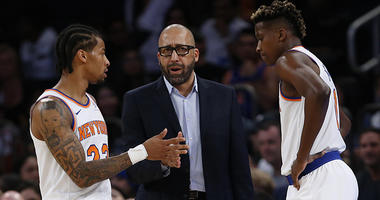 New York Knicks head coach David Fizdale talks to guard Trey Burke (23) and guard Frank Ntilikina (11) during the second half timeout against the New Orleans Pelicans at Madison Square Garden. Mandatory Credit: Noah K. Murray-USA TODAY Sports