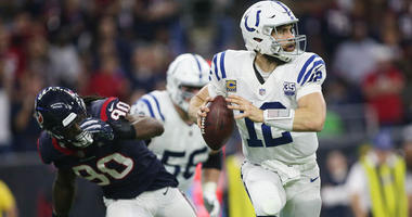 Indianapolis Colts quarterback Andrew Luck throws a pass against the Houston Texans on Jan. 5, 2019, in an AFC wild-card game at NRG Stadium in Houston.