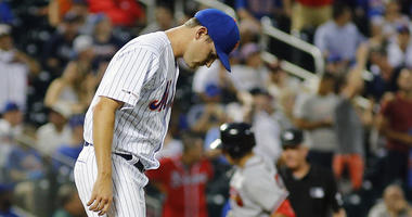 The Mets' Seth Lugo reacts after giving up a solo home run to the Braves' Austin Riley on on June 29, 2019, at Citi Field.