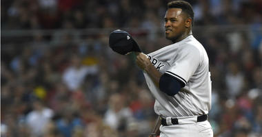 Luis Severino reacts during the sixth inning against the Boston Red Sox at Fenway Park.