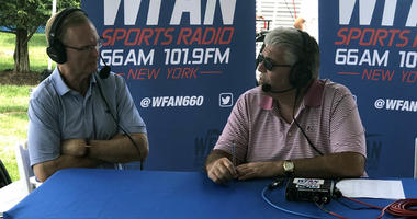 Giants co-owner John Mara chats with Mike Francesa at Giants training camp on July 27, 2018.