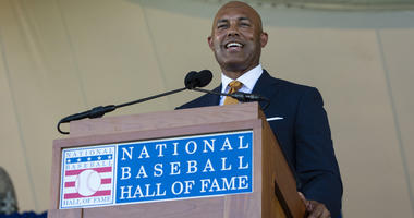 Hall of Fame inductee Mariano Rivera makes his acceptance speech during the 2019 National Baseball Hall of Fame induction ceremony at the Clark Sports Center in Cooperstown, New York.