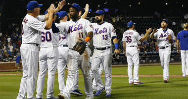 Mets react after defeating the Miami Marlins on Aug. 6, 2019, at Citi Field.
