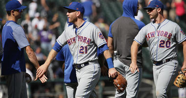 The Mets' Todd Frazier and Pete Alonso celebrate a sweep of the Chicago White Sox with teammates on Aug. 1, 2019, at Guaranteed Rate Field in Chicago.