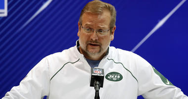 Feb 28, 2018; Indianapolis, IN, USA; New York Jets general manager Mike Maccagnan speaks to the media during the 2018 NFL Combine at the Indianapolis Convention Center. Mandatory Credit: Brian Spurlock-USA TODAY Sports