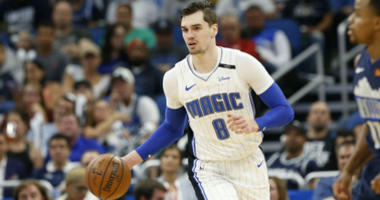 Mario Hezonja drives to the basket against the Dallas Mavericks during the second half at Amway Center in Orlando.
