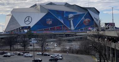 The exterior of Mercedes-Benz Stadium ahead of Super Bowl LII. (Credit: Adam W. Bloom)