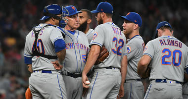 Steven Matz during a mound visit Wednesday night