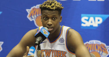 Knicks guard Frank Ntilikina speaks at Media Day on Sept. 24, 2018, in Greenburgh, New York.