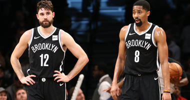Oct 31, 2018; Brooklyn, NY, USA; Brooklyn Nets forward Joe Harris (12) and guard Spencer Dinwiddie (8) in the fourth quarter against the Detroit Pistons at Barclays Center. Mandatory Credit: Nicole Sweet-USA TODAY Sports