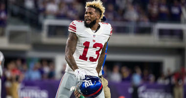 Giants wide receiver Odell Beckham Jr. argues a call against the Vikings on Oct. 11, 2016, at U.S. Bank Stadium in Minneapolis, Minnesota.