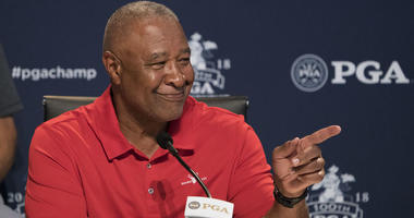MLB Hall of Famer Ozzie Smith speaks at a news conference to honor Smith as the 100th PGA Championship Host City Champion on Aug. 8, 2018, at Bellerive Country Club in St. Louis.