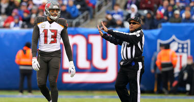 Tampa Bay Buccaneers wide receiver Mike Evans (13) reacts after being called for offensive pass interference during the second half against the New York Giants at MetLife Stadium on Nov. 18, 2019.