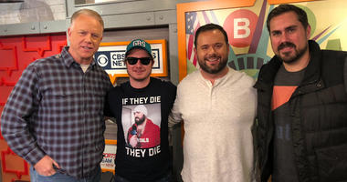 """Boomer and Gio pose with PFT Commenter and Big Cat from the """"Pardon My Take"""" podcast."""
