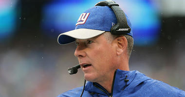 Sep 9, 2018; East Rutherford, NJ, USA; New York Giants head coach Pat Shurmur coaches against the Jacksonville Jaguars during the first quarter at MetLife Stadium. Mandatory Credit: Brad Penner-USA TODAY Sports