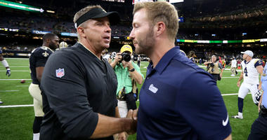 Aug 30, 2018; New Orleans, LA, USA; New Orleans Saints head coach Sean Payton talks to Los Angeles Rams head coach Sean McVay after their game at Mercedes-Benz Superdome. The Saints won, 28-0. Mandatory Credit: Chuck Cook-USA TODAY Sports