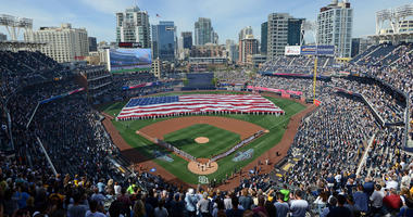 Apr 7, 2017; San Diego, CA, USA; A general view of the opening day ceremonies before the game between the San Francisco Giants and San Diego Padres at Petco Park. Mandatory Credit: Jake Roth-USA TODAY Sports