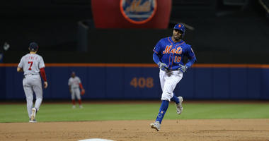 The Mets' Rajai Davis rounds the bases after hitting a three-run homer against the Washington Nationals during the eighth inning on May 23, 2019, at Citi Field.